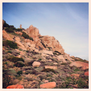 Granit in Winterabendsonne, Monte Budello, Budelli