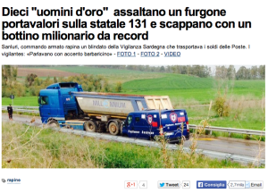 Screenshot der Website von L'Unione Sarda